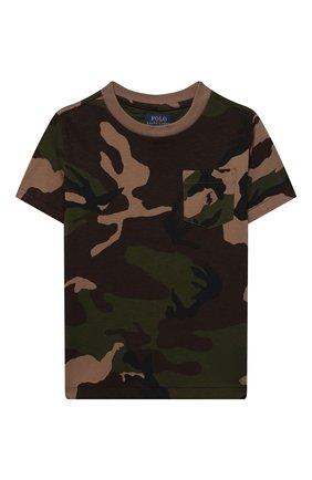 Детская хлопковая футболка POLO RALPH LAUREN хаки цвета, арт. 321836548 | Фото 1 (Материал внешний: Хлопок; Рукава: Короткие; Ростовка одежда: 18 мес | 86 см, 3 года | 98 см, 4 года | 104 см)