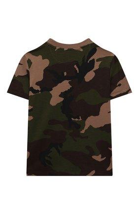 Детская хлопковая футболка POLO RALPH LAUREN хаки цвета, арт. 321836548 | Фото 2 (Материал внешний: Хлопок; Рукава: Короткие; Ростовка одежда: 18 мес | 86 см, 3 года | 98 см, 4 года | 104 см)