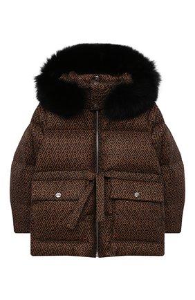 Детская пуховая куртка с мехом YVES SALOMON ENFANT коричневого цвета, арт. 22WEM004XXM08W/4-6 | Фото 1 (Рукава: Длинные; Материал утеплителя: Пух и перо; Материал внешний: Синтетический материал; Материал подклада: Синтетический материал; Девочки Кросс-КТ: Пуховик-верхняя одежда; Кросс-КТ: Сезон: зима; Ростовка одежда: 6 лет | 116 см)