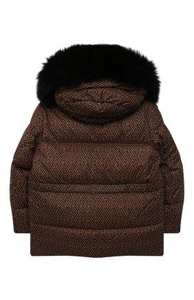 Детская пуховая куртка с мехом YVES SALOMON ENFANT коричневого цвета, арт. 22WEM004XXM08W/4-6 | Фото 2 (Рукава: Длинные; Материал утеплителя: Пух и перо; Материал внешний: Синтетический материал; Материал подклада: Синтетический материал; Девочки Кросс-КТ: Пуховик-верхняя одежда; Кросс-КТ: Сезон: зима; Ростовка одежда: 6 лет | 116 см)