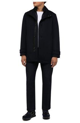 Мужской пальто из шерсти и кашемира BOSS темно-синего цвета, арт. 50455402 | Фото 2 (Материал внешний: Шерсть; Мужское Кросс-КТ: пальто-верхняя одежда; Рукава: Длинные; Длина (верхняя одежда): Короткие; Стили: Кэжуэл)