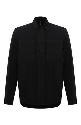 Мужская хлопковая рубашка TRANSIT черного цвета, арт. CFUTRP1363 | Фото 1 (Рукава: Длинные; Материал внешний: Хлопок; Длина (для топов): Стандартные; Стили: Кэжуэл; Манжеты: На пуговицах; Воротник: Кент; Принт: Однотонные)