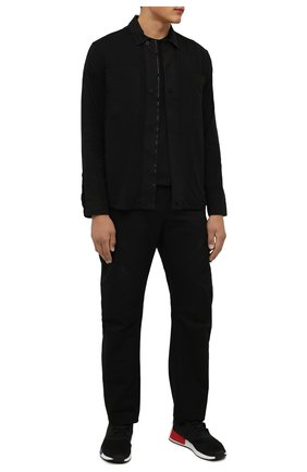 Мужская хлопковая рубашка TRANSIT черного цвета, арт. CFUTRP1363 | Фото 2 (Рукава: Длинные; Материал внешний: Хлопок; Длина (для топов): Стандартные; Стили: Кэжуэл; Манжеты: На пуговицах; Воротник: Кент; Принт: Однотонные)