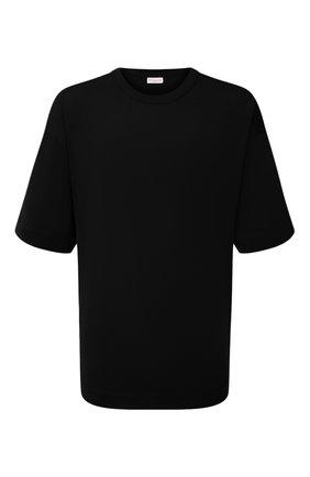 Мужская хлопковая футболка DRIES VAN NOTEN черного цвета, арт. 212-021165-3600   Фото 1 (Материал внешний: Хлопок; Длина (для топов): Удлиненные; Принт: Без принта; Рукава: Короткие; Стили: Минимализм)