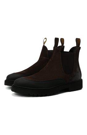 Мужские замшевые челси DOUCAL'S темно-коричневого цвета, арт. DU2911CENTPF556NM00 | Фото 1 (Подошва: Плоская; Материал внутренний: Натуральная кожа; Мужское Кросс-КТ: Сапоги-обувь, Челси-обувь; Материал внешний: Замша)