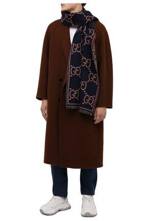 Мужской шерстяной шарф GUCCI синего цвета, арт. 660025/4G386 | Фото 2 (Материал: Шерсть; Кросс-КТ: шерсть)