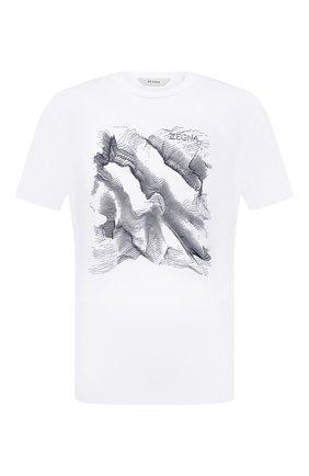 Мужская хлопковая футболка Z ZEGNA белого цвета, арт. VY367/ZZ630M | Фото 1 (Длина (для топов): Стандартные; Рукава: Короткие; Материал внешний: Хлопок; Принт: С принтом; Стили: Кэжуэл)