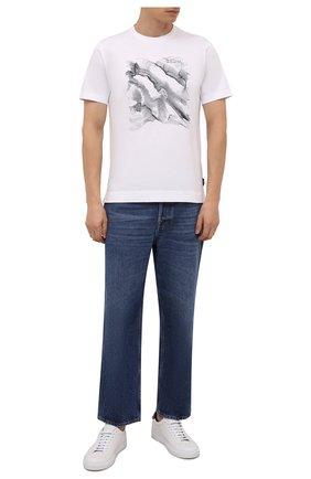 Мужская хлопковая футболка Z ZEGNA белого цвета, арт. VY367/ZZ630M | Фото 2 (Длина (для топов): Стандартные; Рукава: Короткие; Материал внешний: Хлопок; Принт: С принтом; Стили: Кэжуэл)