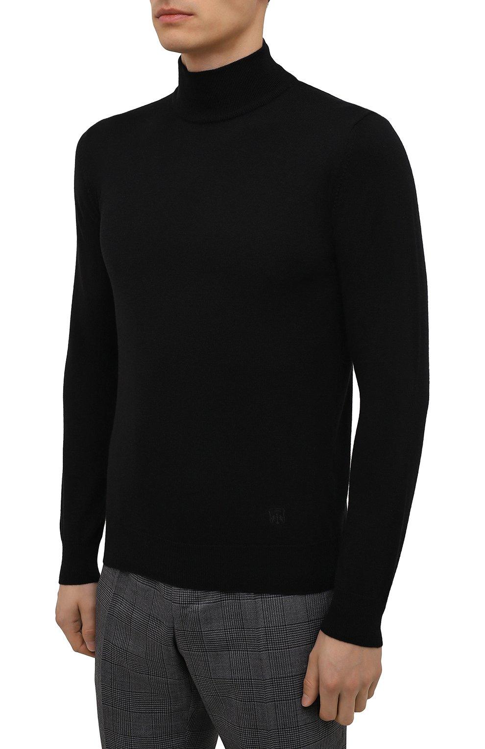 Мужской шерстяная водолазка CORNELIANI черного цвета, арт. 88M503-1825100/00 | Фото 3 (Материал внешний: Шерсть; Рукава: Длинные; Принт: Без принта; Длина (для топов): Стандартные; Стили: Классический; Мужское Кросс-КТ: Водолазка-одежда)