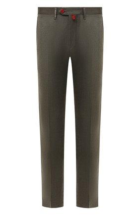 Мужские брюки из шерсти и кашемира KITON зеленого цвета, арт. UFPP79K0121A | Фото 1 (Материал подклада: Купро; Материал внешний: Шерсть; Случай: Повседневный; Длина (брюки, джинсы): Стандартные; Стили: Кэжуэл)