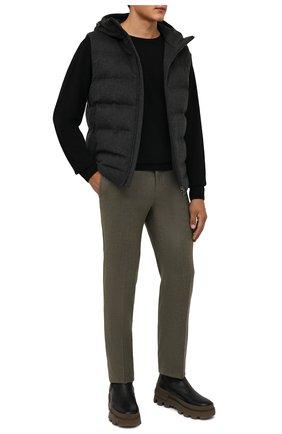 Мужские брюки из шерсти и кашемира KITON зеленого цвета, арт. UFPP79K0121A | Фото 2 (Материал подклада: Купро; Материал внешний: Шерсть; Случай: Повседневный; Длина (брюки, джинсы): Стандартные; Стили: Кэжуэл)