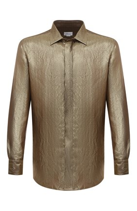 Мужская рубашка BRIONI золотого цвета, арт. RCXE0M/0140L | Фото 1 (Материал внешний: Металлизированное волокно, Шелк; Рукава: Длинные; Длина (для топов): Стандартные; Случай: Вечерний; Манжеты: На пуговицах; Воротник: Кент; Принт: С принтом; Рубашки М: Regular Fit; Стили: Гламурный)