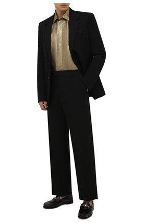 Мужская рубашка BRIONI золотого цвета, арт. RCXE0M/0140L | Фото 2 (Материал внешний: Металлизированное волокно, Шелк; Рукава: Длинные; Длина (для топов): Стандартные; Случай: Вечерний; Манжеты: На пуговицах; Воротник: Кент; Принт: С принтом; Рубашки М: Regular Fit; Стили: Гламурный)