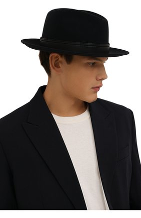 Мужская шерстяная шляпа BRIONI темно-синего цвета, арт. 04900L/01A4Q | Фото 2 (Материал: Шерсть)