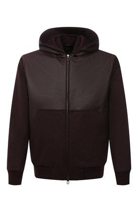 Мужской комбинированный бомбер LORO PIANA бордового цвета, арт. FAL8420 | Фото 1 (Длина (верхняя одежда): Короткие; Рукава: Длинные; Материал утеплителя: Шерсть; Кросс-КТ: Куртка; Мужское Кросс-КТ: Кожа и замша; Принт: Без принта; Стили: Кэжуэл)