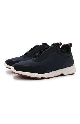 Мужские комбинированные кроссовки modular walk LORO PIANA темно-синего цвета, арт. FAL9358 | Фото 1 (Стили: Классический; Подошва: Массивная)