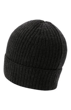 Мужская кашемировая шапка DANIELE FIESOLI темно-серого цвета, арт. WS 8010   Фото 2 (Материал: Шерсть, Кашемир; Кросс-КТ: Трикотаж)
