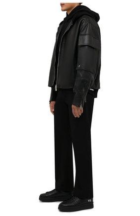 Мужские кожаные кеды hicho Y-3 черного цвета, арт. GZ9147/M | Фото 2 (Подошва: Массивная; Материал внутренний: Натуральная кожа)