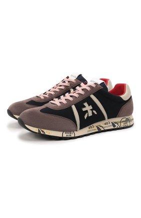 Мужские комбинированные кроссовки lucy PREMIATA синего цвета, арт. LUCY/VAR5499 | Фото 1 (Материал внешний: Текстиль; Подошва: Массивная; Материал внутренний: Натуральная кожа; Стили: Гранж)