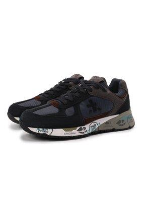Мужские комбинированные кроссовки mase PREMIATA темно-синего цвета, арт. MASE/VAR5399 | Фото 1 (Материал внутренний: Натуральная кожа; Материал внешний: Текстиль; Стили: Гранж; Подошва: Массивная)