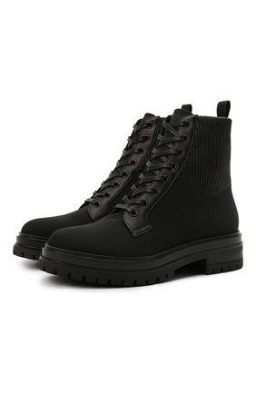 Женские комбинированные ботинки martis 20 GIANVITO ROSSI черного цвета, арт. G73884.20G0M.DCENENN | Фото 1 (Материал внутренний: Натуральная кожа; Каблук высота: Низкий; Подошва: Платформа; Материал внешний: Текстиль; Женское Кросс-КТ: Военные ботинки)