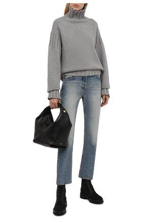 Женские комбинированные ботинки martis 20 GIANVITO ROSSI черного цвета, арт. G73884.20G0M.DCENENN | Фото 2 (Материал внутренний: Натуральная кожа; Каблук высота: Низкий; Подошва: Платформа; Материал внешний: Текстиль; Женское Кросс-КТ: Военные ботинки)
