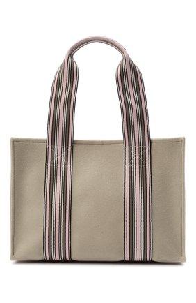 Женский сумка-шопер suitcase stripe LORO PIANA светло-зеленого цвета, арт. FAL3818 | Фото 1 (Материал: Текстиль; Сумки-технические: Сумки-шопперы; Размер: large)