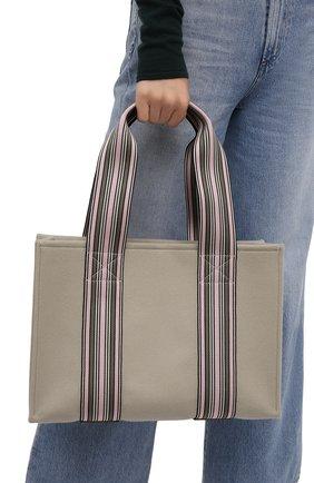 Женский сумка-шопер suitcase stripe LORO PIANA светло-зеленого цвета, арт. FAL3818 | Фото 2 (Материал: Текстиль; Сумки-технические: Сумки-шопперы; Размер: large)