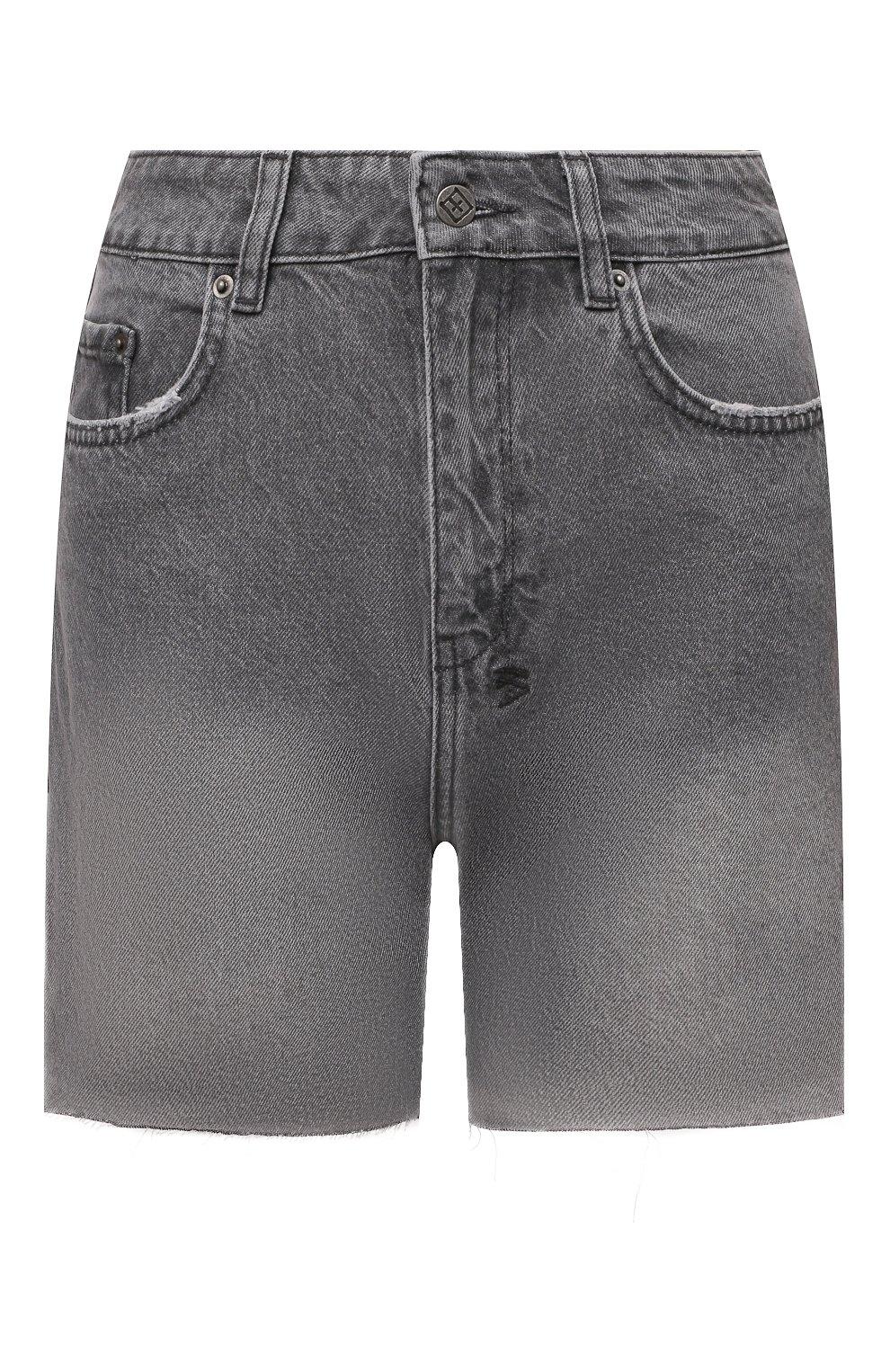 Женские джинсовые шорты KSUBI серого цвета, арт. 5000006254 | Фото 1 (Женское Кросс-КТ: Шорты-одежда; Кросс-КТ: Деним; Длина Ж (юбки, платья, шорты): Мини; Стили: Гранж; Материал внешний: Хлопок)