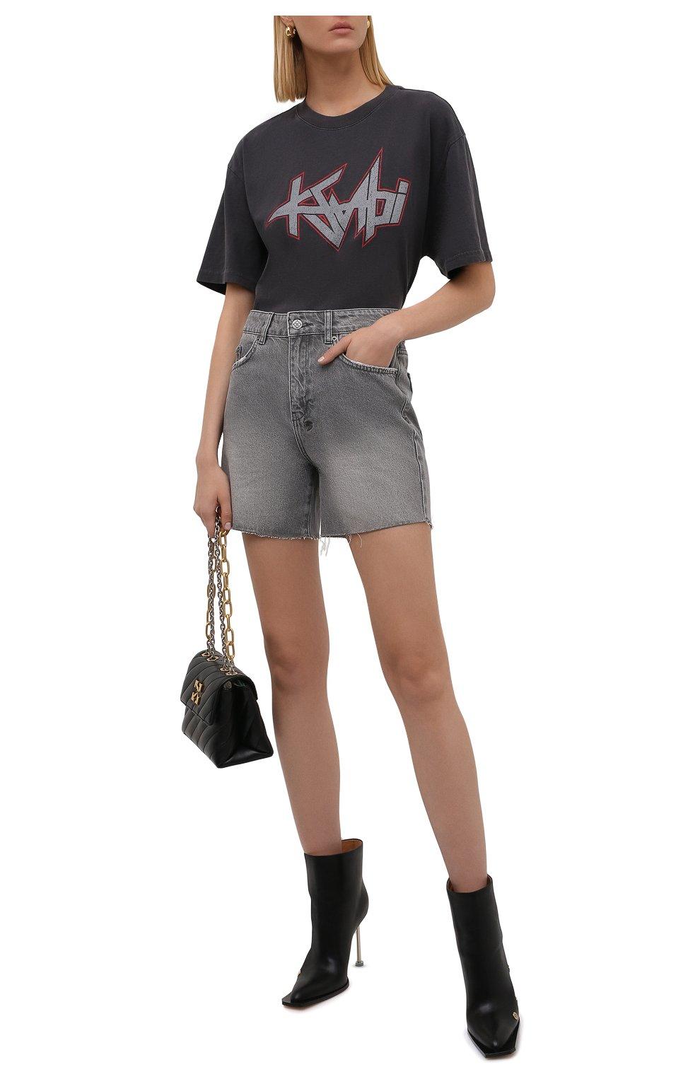Женские джинсовые шорты KSUBI серого цвета, арт. 5000006254 | Фото 2 (Женское Кросс-КТ: Шорты-одежда; Кросс-КТ: Деним; Длина Ж (юбки, платья, шорты): Мини; Стили: Гранж; Материал внешний: Хлопок)