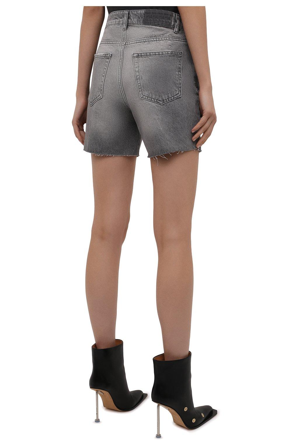 Женские джинсовые шорты KSUBI серого цвета, арт. 5000006254 | Фото 4 (Женское Кросс-КТ: Шорты-одежда; Кросс-КТ: Деним; Длина Ж (юбки, платья, шорты): Мини; Стили: Гранж; Материал внешний: Хлопок)