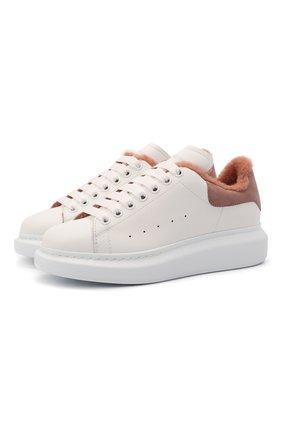 Женские кожаные кроссовки xl sole ALEXANDER MCQUEEN кремвого цвета, арт. 609650/WIAFE | Фото 1 (Подошва: Платформа; Материал внутренний: Натуральная кожа; Материал утеплителя: Натуральный мех)
