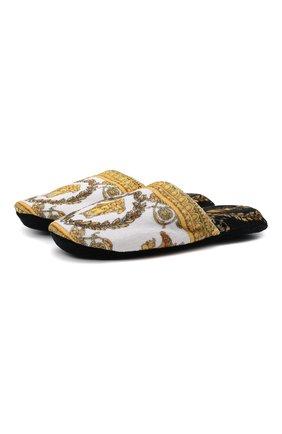 Женского текстильные домашние туфли VERSACE разноцветного цвета, арт. ZSLP00002/ZC0SP075   Фото 1 (Материал внешний: Текстиль; Материал внутренний: Текстиль; Женское Кросс-КТ: тапочки-домашняя обувь; Подошва: Платформа)