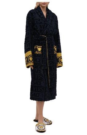 Женского текстильные домашние туфли VERSACE разноцветного цвета, арт. ZSLP00002/ZC0SP075   Фото 2 (Материал внешний: Текстиль; Материал внутренний: Текстиль; Женское Кросс-КТ: тапочки-домашняя обувь; Подошва: Платформа)