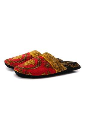 Женского текстильные домашние туфли VERSACE красного цвета, арт. ZSLP00002/ZC0SP075 | Фото 1 (Материал внешний: Текстиль; Материал внутренний: Текстиль; Женское Кросс-КТ: тапочки-домашняя обувь; Подошва: Платформа)
