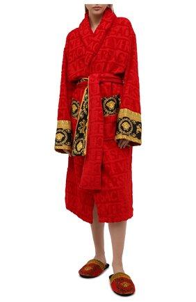 Женского текстильные домашние туфли VERSACE красного цвета, арт. ZSLP00002/ZC0SP075 | Фото 2 (Материал внешний: Текстиль; Материал внутренний: Текстиль; Женское Кросс-КТ: тапочки-домашняя обувь; Подошва: Платформа)