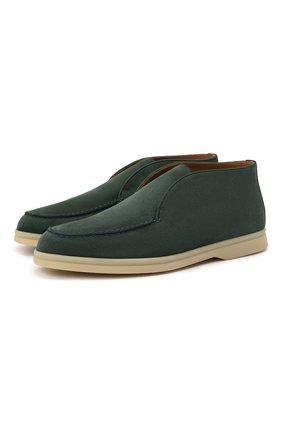 Женские замшевые ботинки open walk LORO PIANA зеленого цвета, арт. FAE9959 | Фото 1 (Материал внутренний: Натуральная кожа; Женское Кросс-КТ: Дезерты-ботинки; Подошва: Плоская; Каблук высота: Низкий)