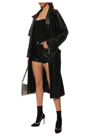 Женские комбинированные ботильоны GIANVITO ROSSI черного цвета, арт. G73219.15RIC.CUGNETR   Фото 2 (Каблук высота: Высокий; Подошва: Плоская; Материал внутренний: Натуральная кожа; Материал внешний: Текстиль; Каблук тип: Шпилька)