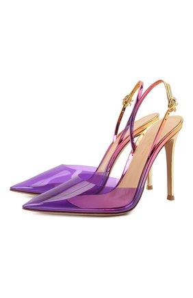 Женские комбинированные туфли GIANVITO ROSSI разноцветного цвета, арт. G95359.15RIC.PLMVISU   Фото 1 (Материал внутренний: Натуральная кожа; Материал внешний: Экокожа; Каблук высота: Высокий; Подошва: Плоская; Каблук тип: Шпилька)