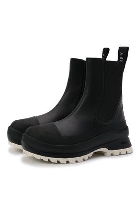 Женские комбинированные ботинки STELLA MCCARTNEY черно-белого цвета, арт. 800397/N0242 | Фото 1 (Каблук высота: Низкий; Материал внешний: Экокожа, Текстиль; Подошва: Платформа; Материал внутренний: Текстиль; Женское Кросс-КТ: Челси-ботинки)