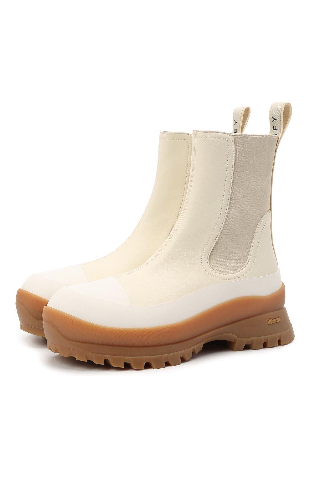 Женские комбинированные ботинки STELLA MCCARTNEY кремвого цвета, арт. 800397/N0244 | Фото 1 (Материал внешний: Экокожа, Текстиль; Подошва: Платформа; Каблук высота: Низкий; Женское Кросс-КТ: Челси-ботинки; Материал внутренний: Текстиль)