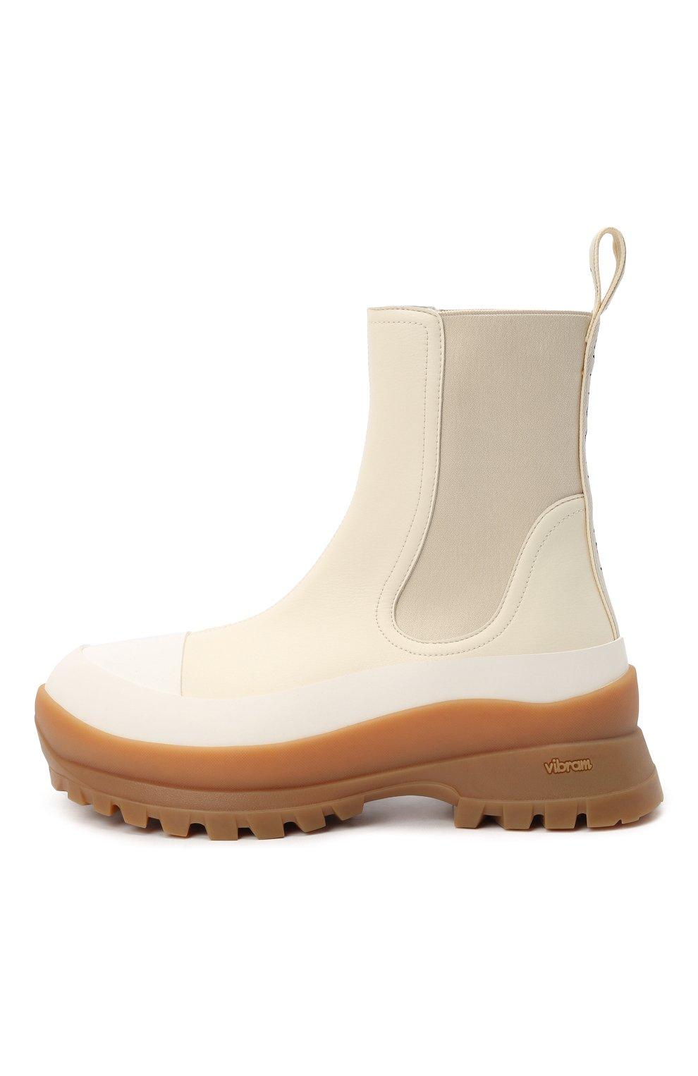 Женские комбинированные ботинки STELLA MCCARTNEY кремвого цвета, арт. 800397/N0244 | Фото 3 (Материал внешний: Экокожа, Текстиль; Подошва: Платформа; Каблук высота: Низкий; Женское Кросс-КТ: Челси-ботинки; Материал внутренний: Текстиль)