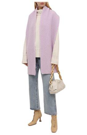 Женский шарф из кашемира и шерсти STELLA MCCARTNEY сиреневого цвета, арт. 604030/S2273 | Фото 2 (Материал: Шерсть, Кашемир)