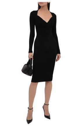 Женское платье DOLCE & GABBANA черного цвета, арт. F6R0VT/FUGDU | Фото 2 (Длина Ж (юбки, платья, шорты): До колена; Материал внешний: Вискоза, Синтетический материал; Рукава: Длинные; Женское Кросс-КТ: Платье-одежда; Стили: Романтичный; Случай: Формальный)