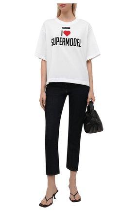 Женская хлопковая футболка DOLCE & GABBANA белого цвета, арт. F8048T/FU7EQ   Фото 2 (Длина (для топов): Стандартные; Материал внешний: Хлопок; Рукава: Короткие; Женское Кросс-КТ: Футболка-одежда; Принт: С принтом; Стили: Спорт-шик)