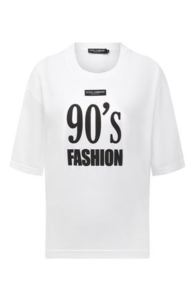 Женская хлопковая футболка DOLCE & GABBANA белого цвета, арт. F8049T/HU7H8   Фото 1 (Материал внешний: Хлопок; Рукава: Короткие; Длина (для топов): Стандартные; Женское Кросс-КТ: Футболка-одежда; Принт: С принтом; Стили: Спорт-шик)