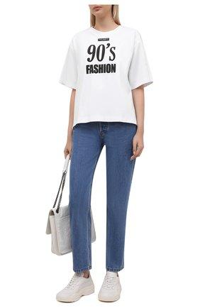 Женская хлопковая футболка DOLCE & GABBANA белого цвета, арт. F8049T/HU7H8   Фото 2 (Материал внешний: Хлопок; Рукава: Короткие; Длина (для топов): Стандартные; Женское Кросс-КТ: Футболка-одежда; Принт: С принтом; Стили: Спорт-шик)