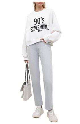 Женский хлопковый свитшот DOLCE & GABBANA белого цвета, арт. F9L05T/FU7DU   Фото 2 (Длина (для топов): Стандартные; Рукава: Длинные; Материал внешний: Хлопок; Женское Кросс-КТ: Свитшот-одежда; Стили: Спорт-шик)