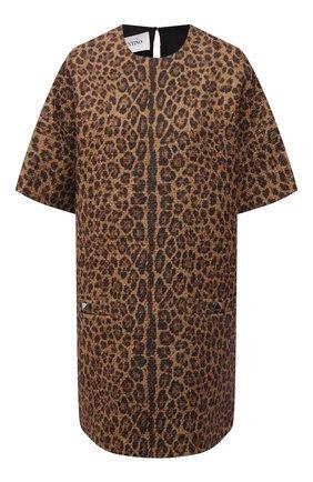 Женское платье из шерсти и хлопка VALENTINO леопардового цвета, арт. WB3VAWP76NC   Фото 1 (Рукава: Короткие; Длина Ж (юбки, платья, шорты): Мини; Материал внешний: Шерсть; Материал подклада: Вискоза; Женское Кросс-КТ: Платье-одежда; Случай: Повседневный; Стили: Романтичный)