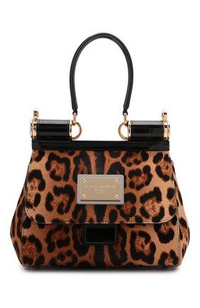 Женская сумка sicily medium DOLCE & GABBANA леопардового цвета, арт. BB7018/AQ291   Фото 1 (Материал: Натуральная кожа; Размер: medium; Ремень/цепочка: На ремешке; Сумки-технические: Сумки top-handle)